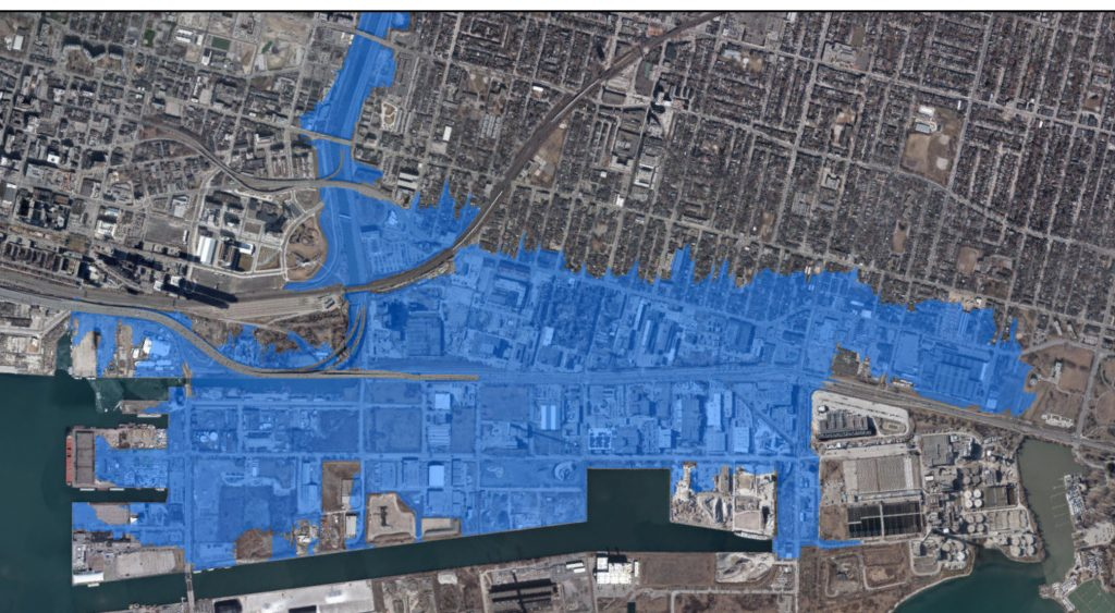 A map of Toronto that shows the area at risk of flooding from the Don River shaded in blue.