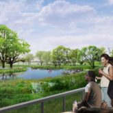 An artist's rendering of the future park on the north side of the new river valley.
