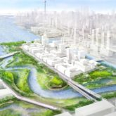 Axion view of a new outlet for the Don River will create Villiers Island. Also visible, the new spillway, roads and bridges.