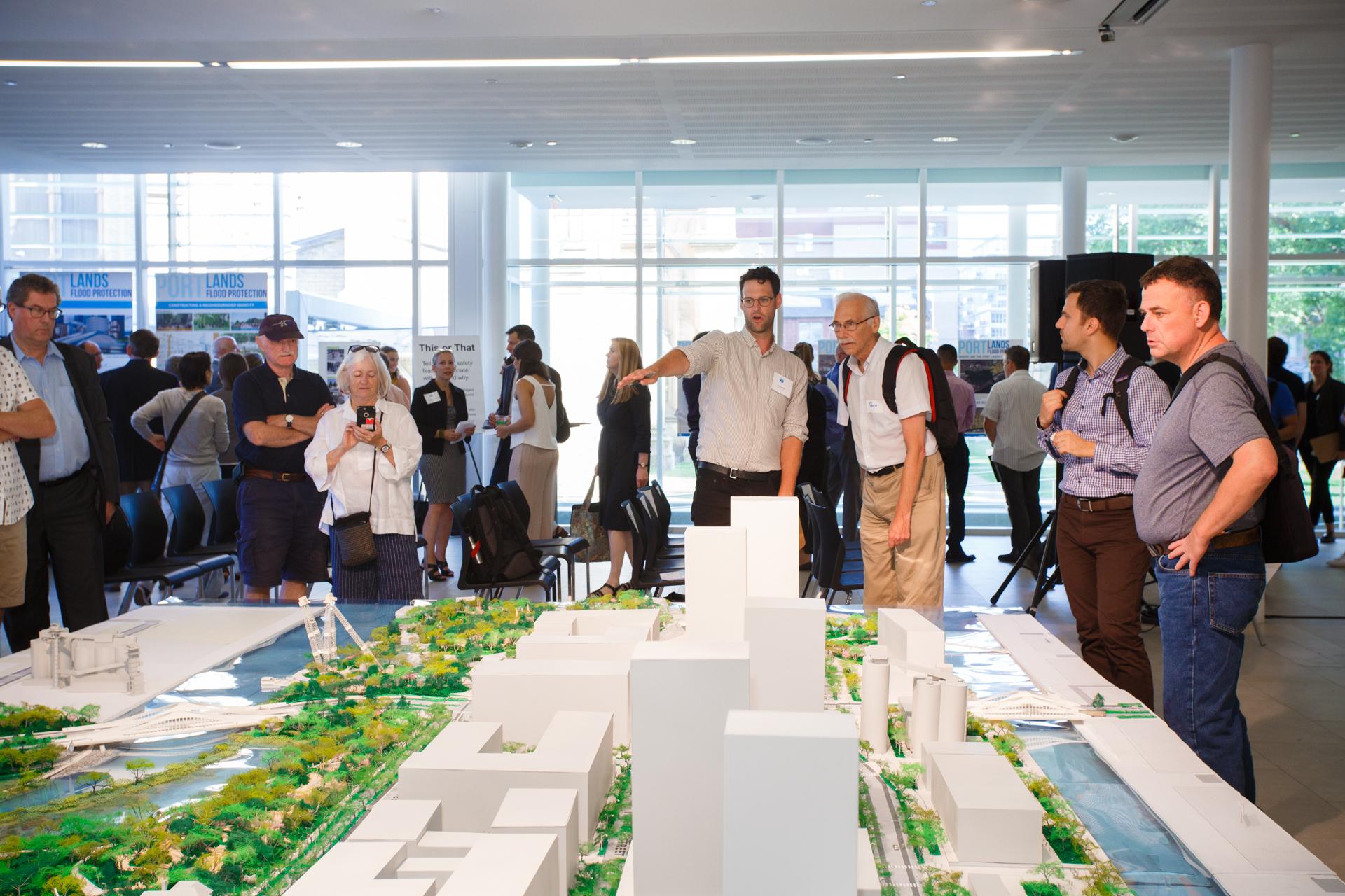 Crowds exploring the Port Lands model.
