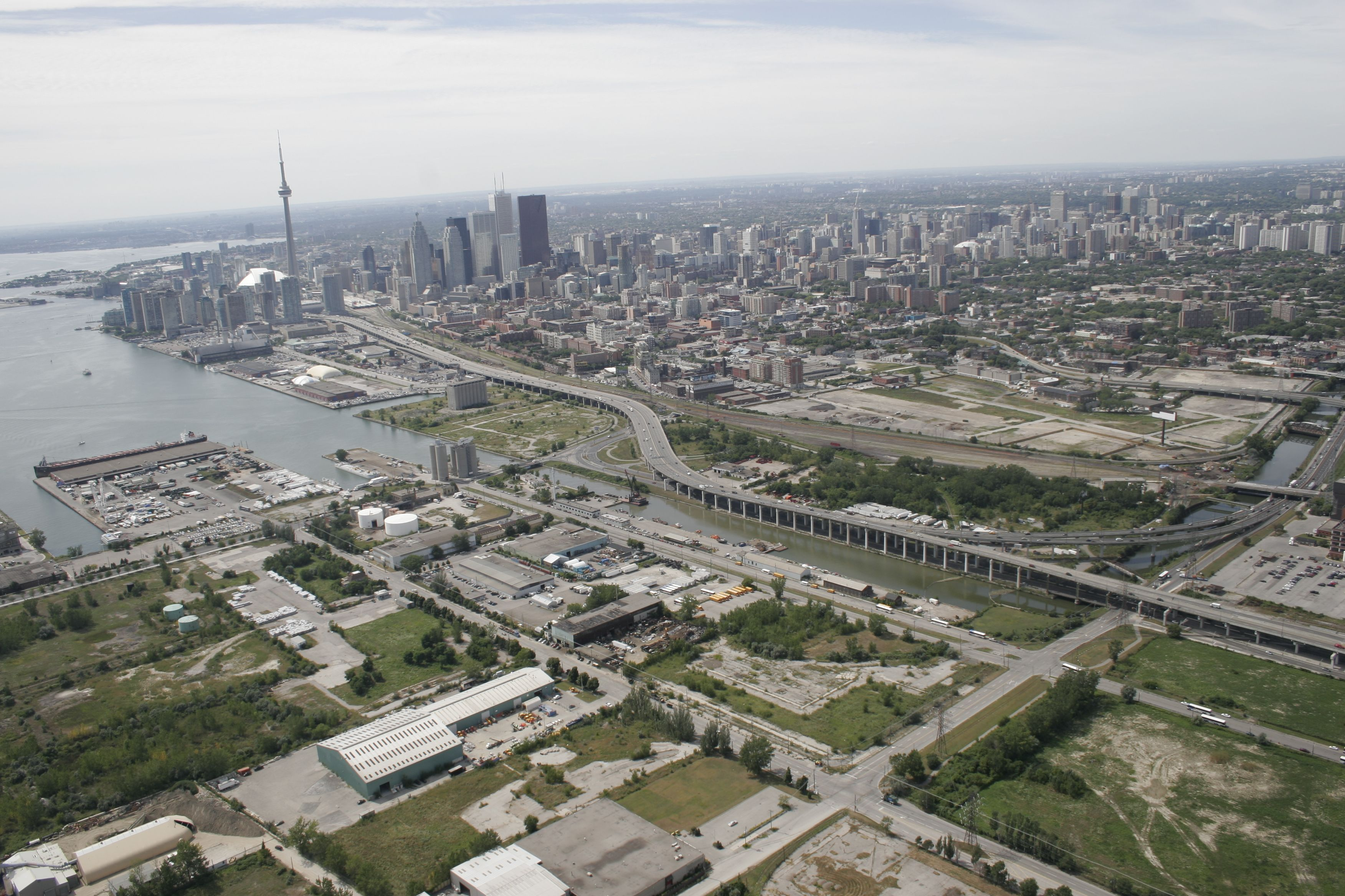 Aerial photo of the Lower Don Lands showing the Keating Channel, where the Don River currently empties into the inner harbour.