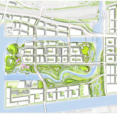 A schematic showing the new river, spillway, roads, bridges and parks.