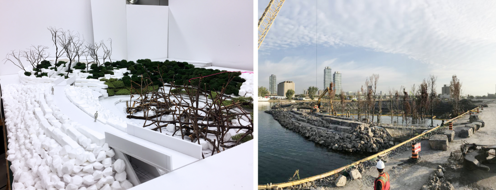 The left photo is a scale model of the lakefilling. On the right, a phot of the project in real life.
