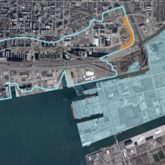 Map showing areas still subject to flooding (eastern waterfront including Port Lands, parts of Leslieville and Unilever site) and area protected already (west of Corktown Common)
