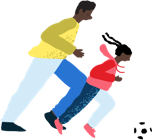 illustration of man playing soccer with young girl