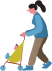 illustration of woman pushing child in stroller