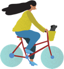 illustration of woman riding bicyle