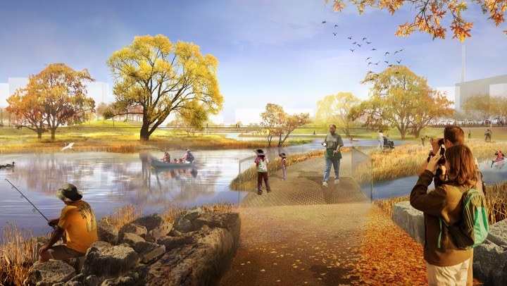 rendering showing people fishing and canoeing in the river and walking on a trail