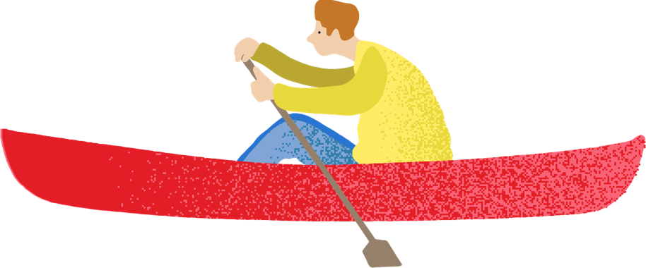 illustration of man rowing in canoe