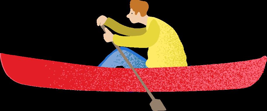 illustration of man rowing in canoe