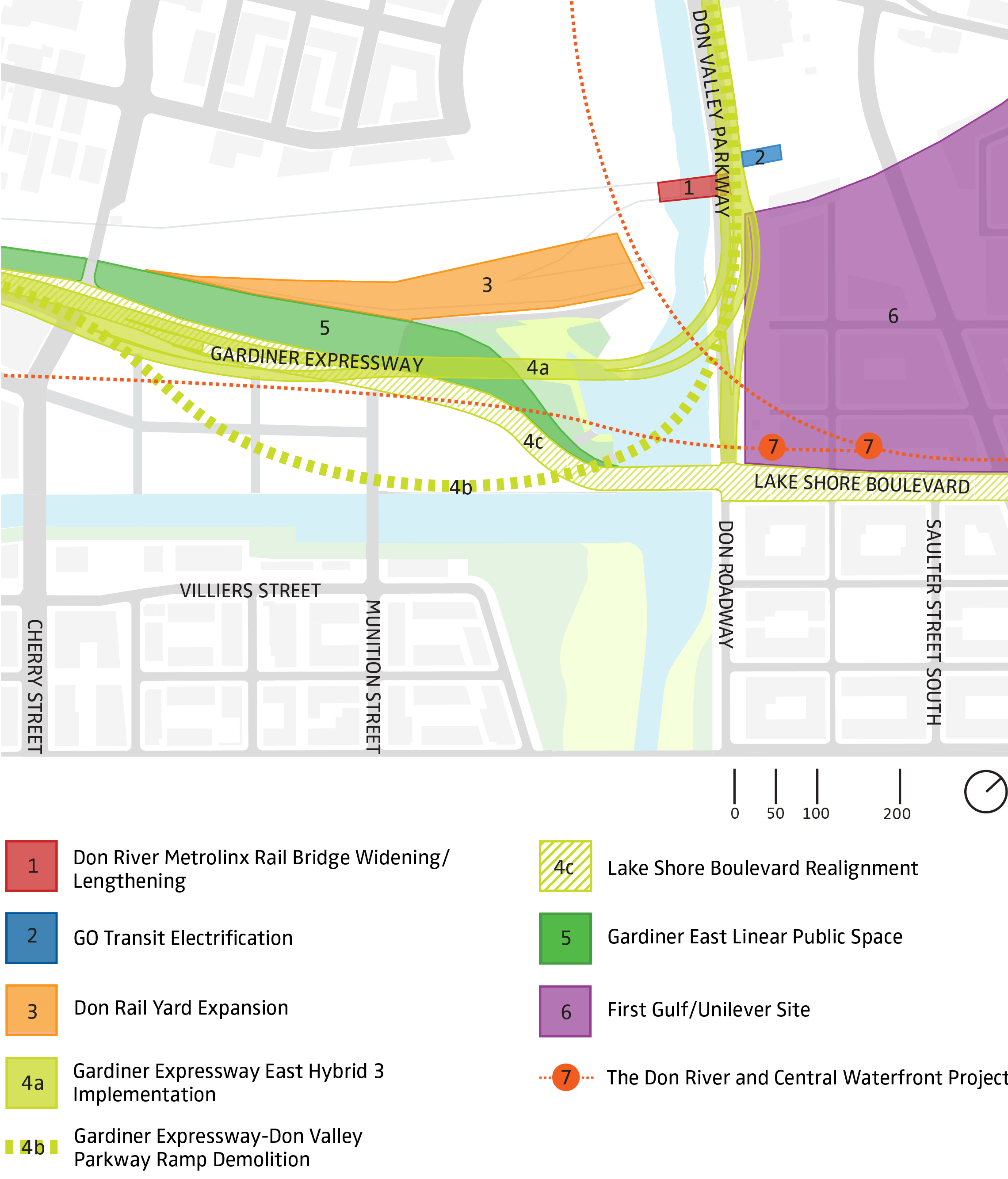 map outlining nearby construction around the port lands area