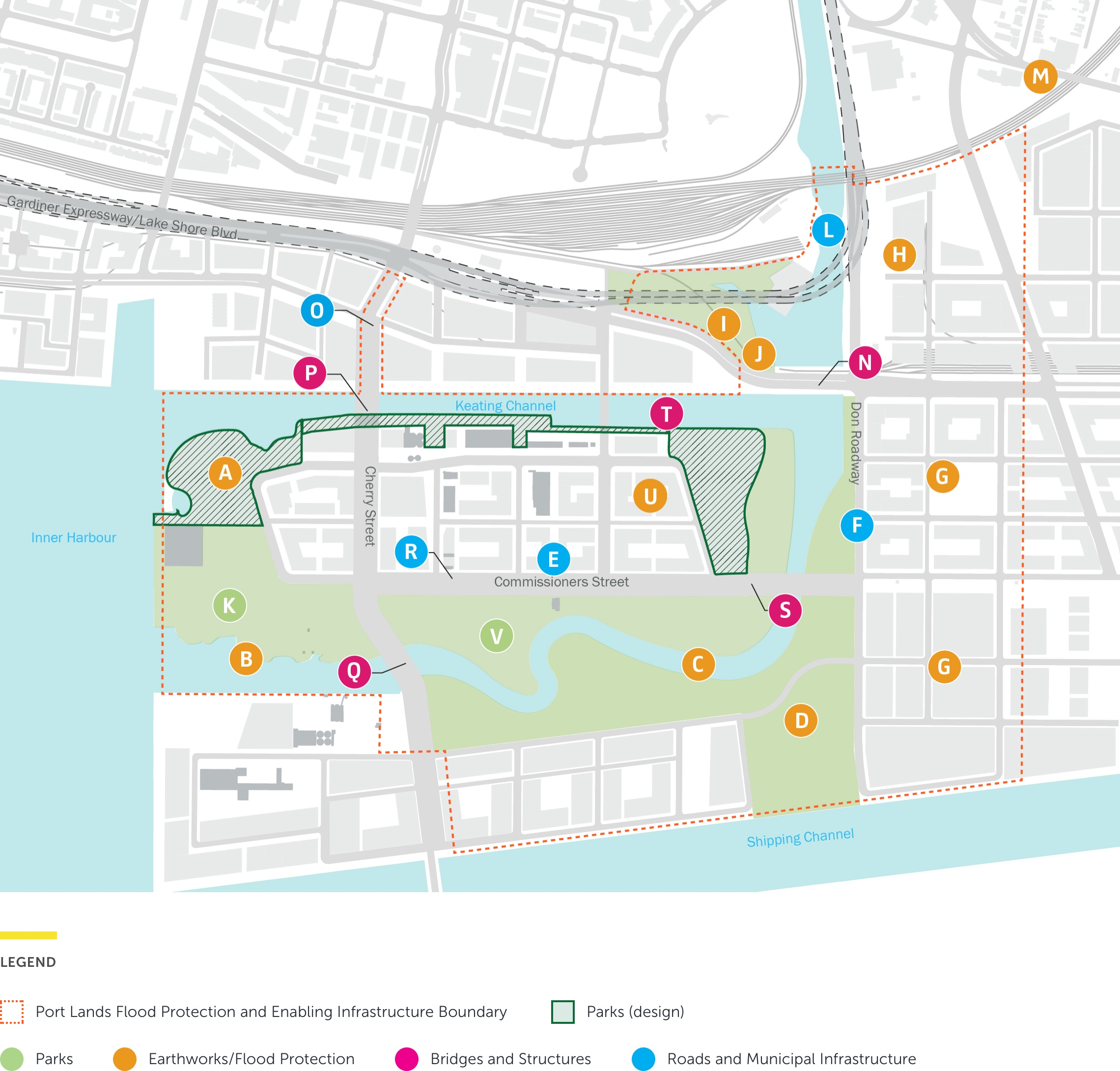 A schematic showing multiple project components within the project boundary in the Port Lands