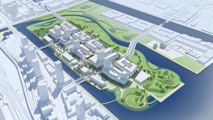 rendering of future river and villiers island